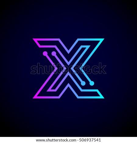 abstract letter x logo design template stock vector