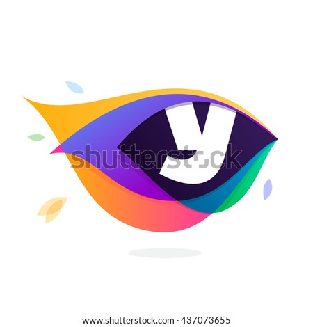 Letter Y logo in peacock feather icon. Multicolor vector alphabet letters for app icon, corporate identity, card, labels or posters. - stock vector