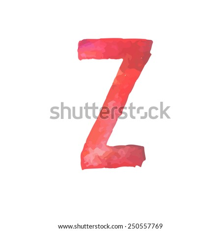 Letter Z Colorful watercolor aquarelle font type handwritten hand draw doodle abc alphabet letters Vector illustration - stock vector