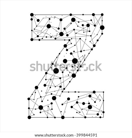 Letter Z consisted of dots and lines, English alphabet - stock vector