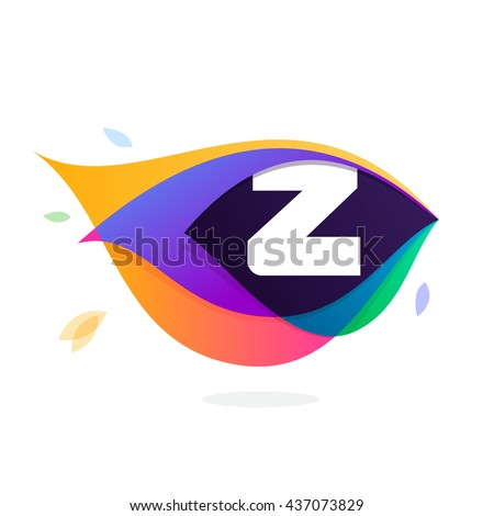 Letter Z logo in peacock feather icon. Multicolor vector alphabet letters for app icon, corporate identity, card, labels or posters. - stock vector