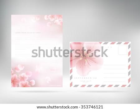 Letterhead Floral Paper. Vector editable template - stock vector