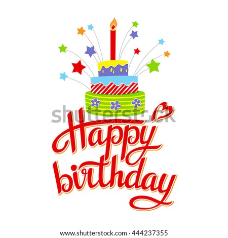 Lettering happy birthday on white background.Illustration vector