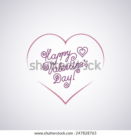 Lettering Happy Valentine's Day with Heart - stock vector