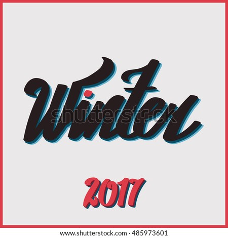 "Lettering ""Hello Winter"". hand drawing font. Twisted inscription. Individual letters. Retro style. Vintage"