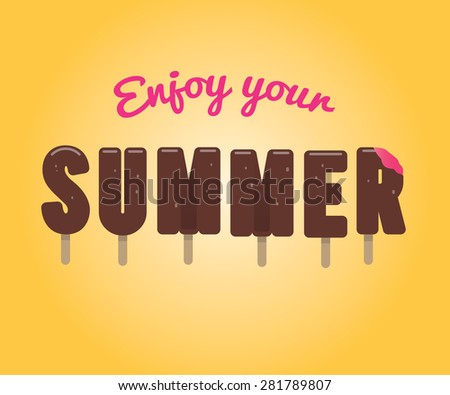 lettering ice cream enjoy your summer stock vector 281789807