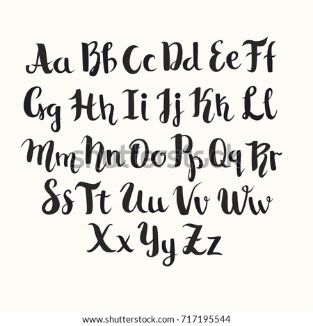 Lettering Latin Vector Alphabet Black English Letters Poster Isolated On White Background
