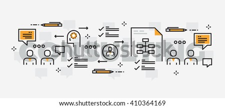 Lettering line design of business consulting center.Thin line flat design banners for website , mobile website, presentation, printing,web banner and landing page. - stock vector