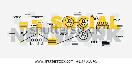 Lettering line design of Social Network.Thin line flat design banners for website , mobile website, presentation, printing,web banner and landing page.  - stock vector