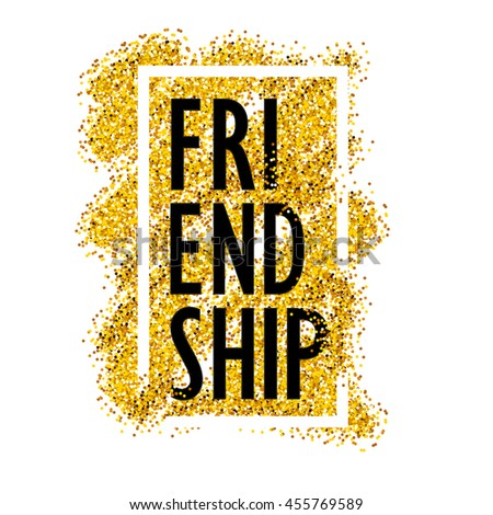 Lettering Word Friendship On Background Golden Stock Vector