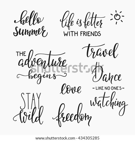 Lettering photography family album overlay set. Motivational quote. Sweet cute inspiration typography. Calligraphy postcard poster photo graphic design element. Hand written sign. Wedding Baby photo - stock vector