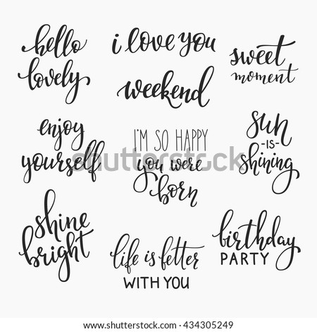 Lettering photography family overlay set. Motivational quote. Sweet cute inspiration typography. Calligraphy postcard poster photo graphic design element. Hand written sign. Wedding Baby photo album - stock vector