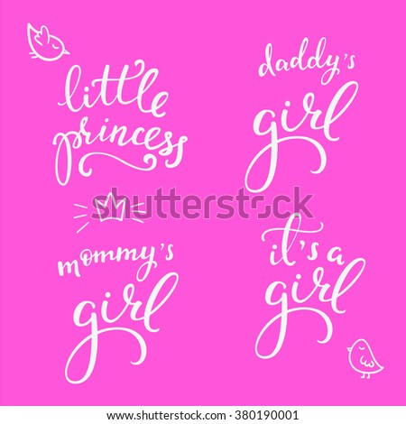Lettering photography little girl overlay set. Motivational quote. Sweet cute inspiration typography. Calligraphy postcard poster photo graphic design element. Hand written sign. Baby photo album set - stock vector