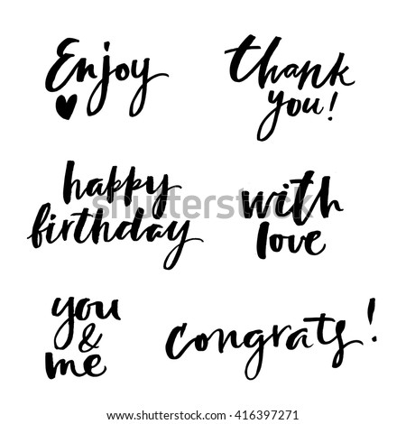Lettering set for cards. Hand drawn lettering. Modern calligraphy. Ink illustration. Design for banner, poster, card, invitation, flyer, brochure. Isolated on white background.  - stock vector