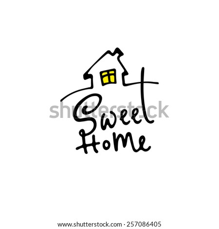 Lettering sweet home. - stock vector