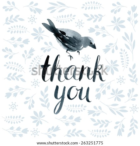 lettering thank you - stock vector