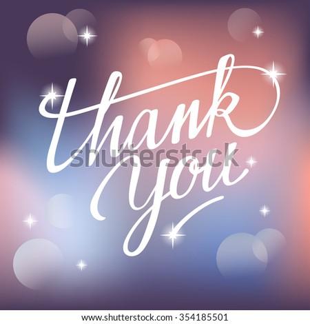 Lettering Thank You On Festive Background : Vector Illustration - stock vector