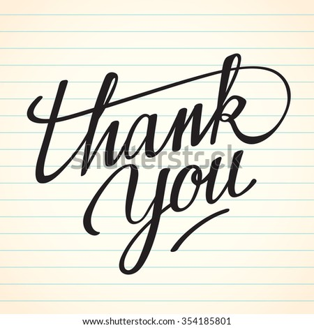 Lettering Thank You On Notebook Paper : Vector Illustration - stock vector