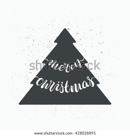 "Lettering vector design, hand written greeting card with scratched effect, xmas tree, words ""Merry Christmas""."
