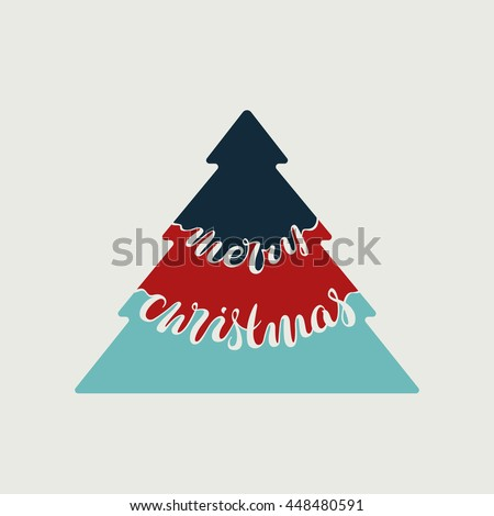 "Lettering vector design, hand written retro greeting card effect, color xmas tree, words ""Merry Christmas""."