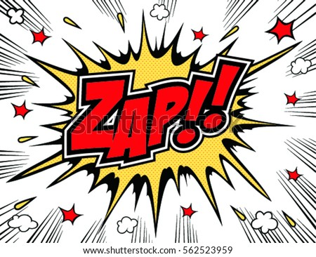 Lettering Zap comic text. Sound bubble speech word cartoon expression sounds illustration.