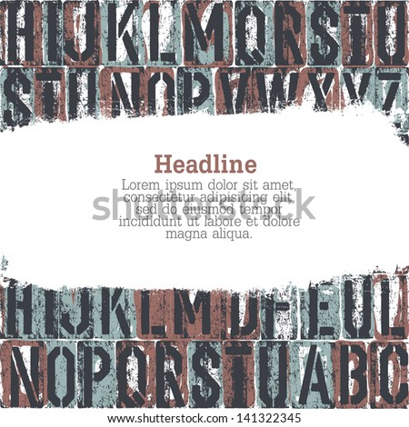 letterpress seamless background with grunge stripe for text. Vector - stock vector