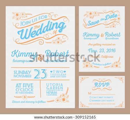Letterpress Wedding Invitation Collection. Package include The Invitation, Save the date, RSVP card. Vector illustration  - stock vector