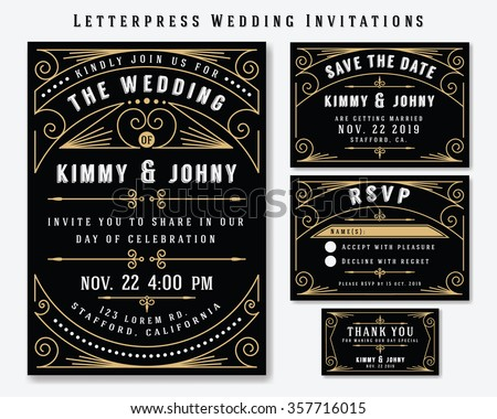 Letterpress Wedding Invitation Design Template. Include RSVP card, Save the date card, thank you tags. Classic Premium Vintage Style Frame Vector illustration. - stock vector