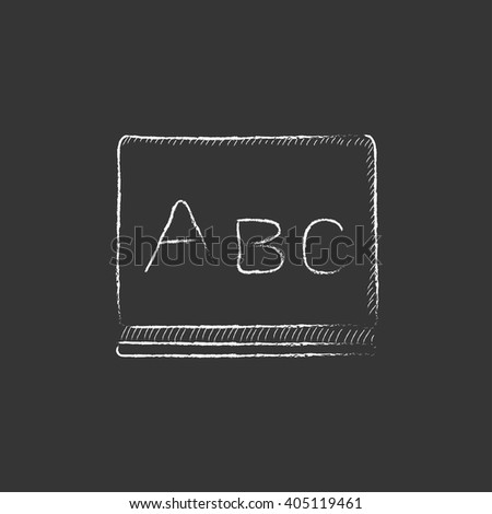 Letters abc on blackboard. Drawn in chalk icon. - stock vector