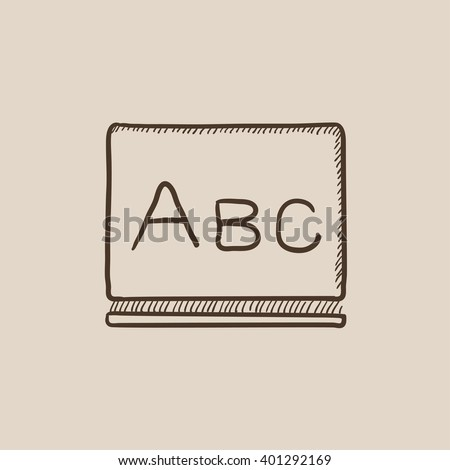 Letters abc on blackboard sketch icon. - stock vector
