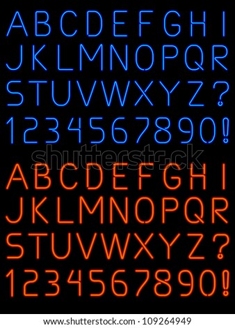 Letters and numbers rendered in fat and thin neon light tubes - stock vector