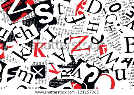letters cut from newspaper, background - stock vector