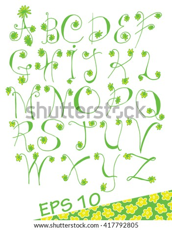 Letters drawn by hand. Letters with flowers. Spring alphabet. The letters of the branches. Line art. Black and white drawing by hand. Stylized. Decorative. Alphabet.