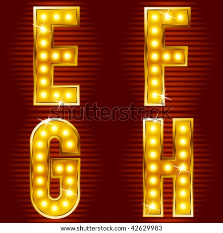 letters for signs with lamps - stock vector
