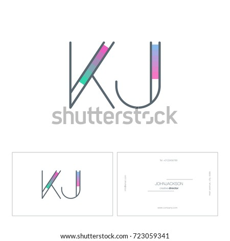 Letters n j logo business card stock vector 725836033 shutterstock letters k j k j logo with business card template vector pronofoot35fo Images