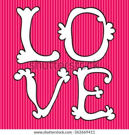 Letters Love text design over pink background, Happy Valentines day card,  vector illustration