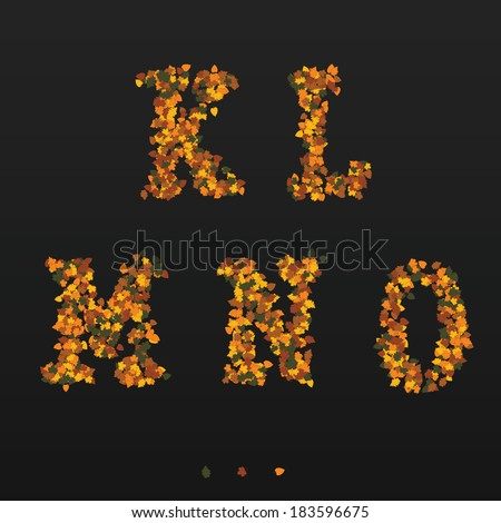 Letters made of fallen autumn leafs. K, L, M, N, O - stock vector