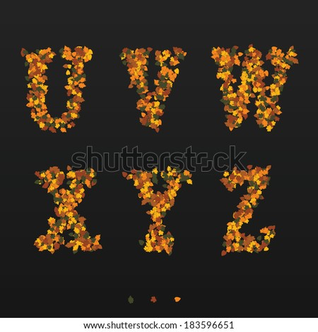 Letters made of fallen autumn leafs. U, V, W, X, Y, Z - stock vector