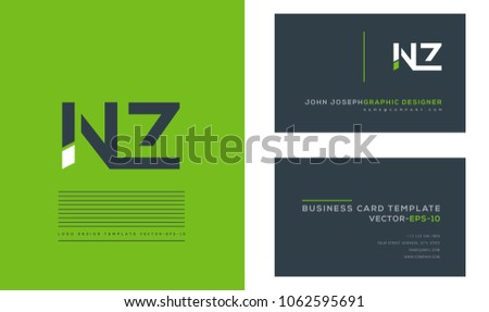 Letters n z n z joint stock vector 1062595691 shutterstock letters n z n z joint logo icon with business card vector template reheart Images