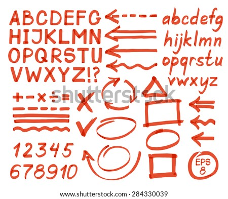 Letters, numbers, arrows, mathematical symbols, lines, written in red marker. Vector. - stock vector