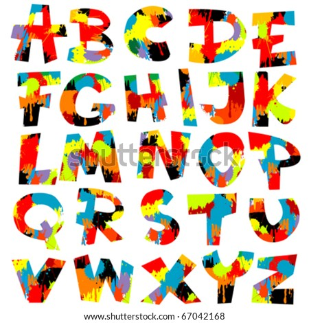 Letters of alphabet with paint splashes - stock vector