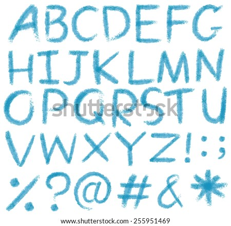 Letters of the alphabet in blue colors on a white background - stock vector