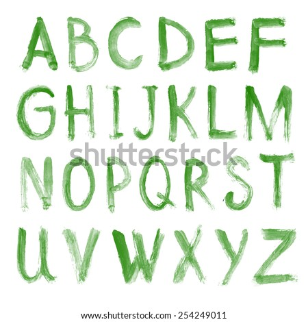 Letters of the alphabet written with a brush. vector hand drawn alphabet
