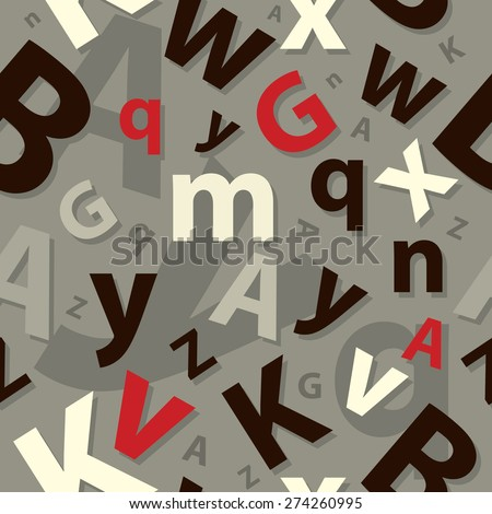 Letters seamless pattern - stock vector