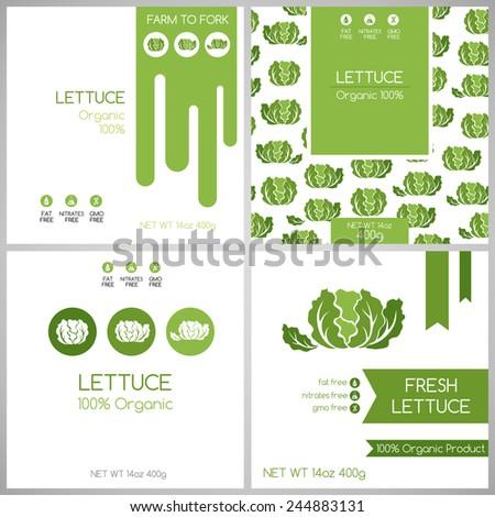 Lettuce labels set. Collection of vegetables labels for pack design. - stock vector