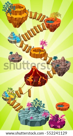 Level map vertical scrolling user interface with islands and suspended ladder. background vector image for mobile game.