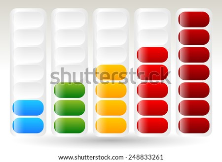 Level or progress meters, indicators. Steps, completion, temperature or capacity. Rounded, brighter version. - stock vector