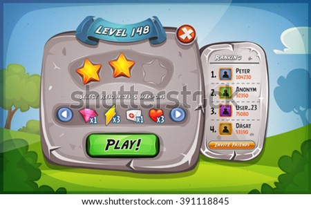Level Panel With Options For Ui Game/ Illustration of a funny cartoon design ui game stone level and control panel, with status, ranking and stars, and spring blue sky background, for app on tablet pc - stock vector