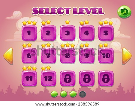 Level selection screen. Game ui set in pink colors  - stock vector