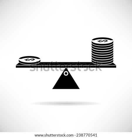 leverage  concept, money leverage, money coin on scale balance - stock vector